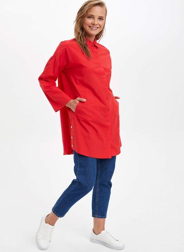 DeFacto Relax Fit Uzun Kollu Gömlek Tunik Kırmızı